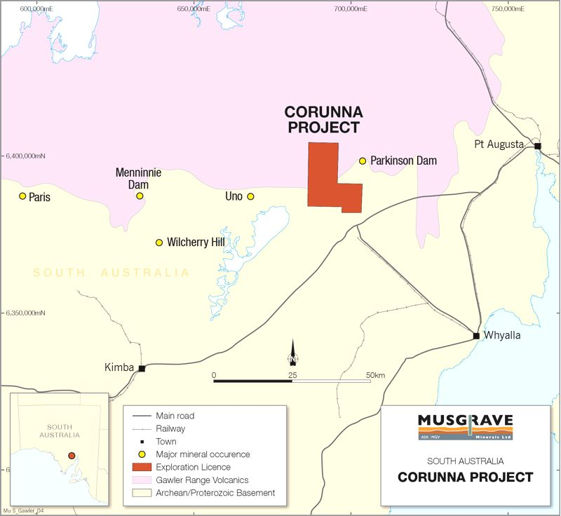 Figure 1 Location Of Musgraves Corunna Project In The Southern Gawler Craton South Australia
